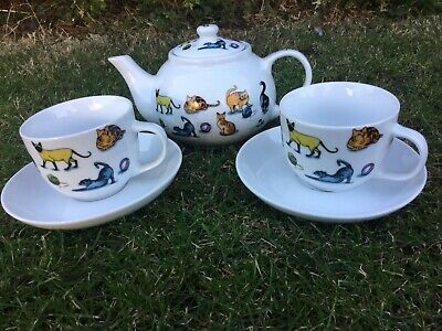 Paul Cardew 2007 COLLECTABLE Pussy Cat Tea Set Teapot Cup Saucer Kitten Cats • 19.99£