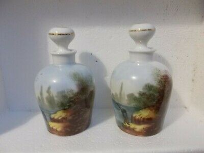 Antique Delinieres D&Co Limoges France 2 Handpainted Bottles With Stoppers • 49.99£