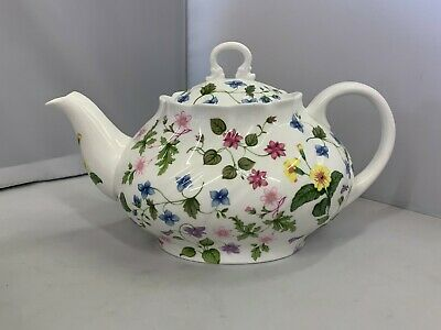UNUSED Queens English Fine Bone China Country Meadow Pattern Full Sized Teapot  • 29.99£