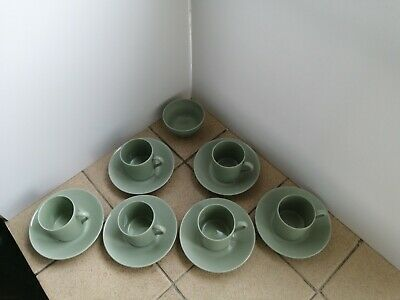 Vintage Spode Flemish Green Coffee Cans And Saucers X 6 And Sugar Bowl • 6£
