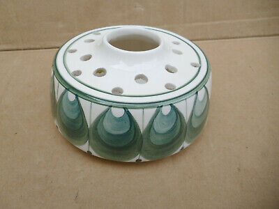 Vintage 70s Jersey Pottery Ceramic Posy Pot Vase Hand Painted Green Shell Design • 6.50£