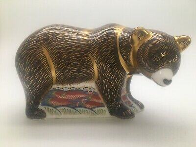 Royal Crown Derby 'Grizzly Bear' Paperweight Gold Stopper • 140£