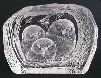 Dartington Crystal Glass Paperweight Owl Baby Owls Birds Wildlife Signed • 24.99£