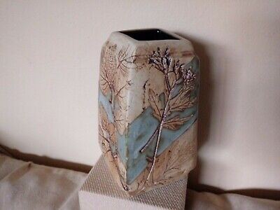 Tenmoku Pottery Vase  Malaysia Handcrafted Incised Leaf Design + Part Blue Glaze • 17.99£