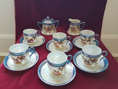 Chikaramachi Antique Japan Lusterware Gold Bird Hand Painted Part Tea/Coffee Set • 20£