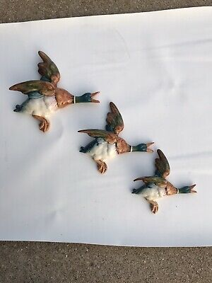 VINTAGE SET OF 3 BESWICK Flying DUCKS Wall Plaques 596-1, 2, 3 VIVID COLORS • 153.86£