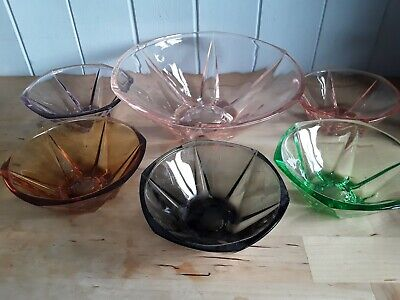 Vintage Art Deco Style 6 Glass Dish Trifle Fruit Bowl Pudding Desert Harlequin  • 30£