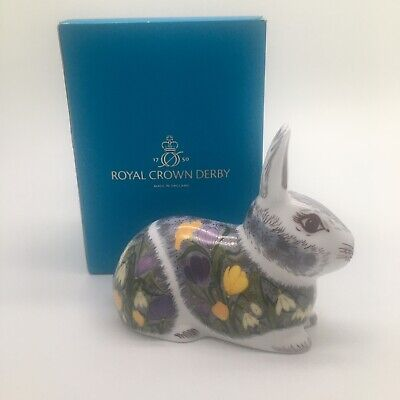 Royal Crown Derby Springtime Bunny Rabbit Paperweight Gold Stopper Original Box • 75£