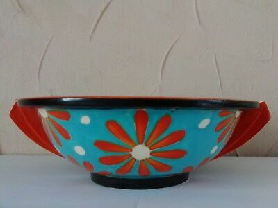 Rare Art Deco Clarice Cliff Bizarre Bowl With Stylised Red Daisy Pattern C 1930 • 440£