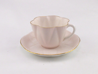 Shelley Dainty Pastel Pink China Duo - Rare Display Item - Shelley Teacup Saucer • 49.95£