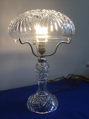 Vintage Crystal Cut Glass Table Lamp And Shade • 195£