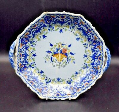 19thc Pb Porquier-beau Quimper 2 Handled 8 Sided Serving Dish Plate  • 45£