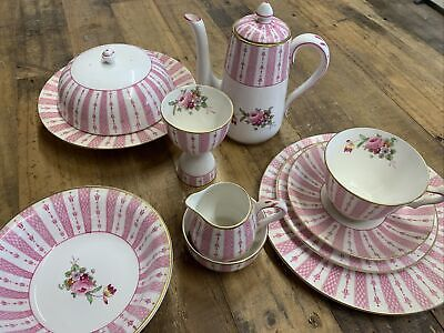 Crown Staffordshire Coffee Dinner Tea Set For One Pink Gilt Roses Handpainted • 45£
