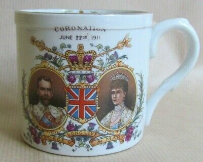 SHELLEY CHINA MUG CORONATION KING GEORGE V & QUEEN MARY 1911 EVESHAM (Ref6122) • 17.50£