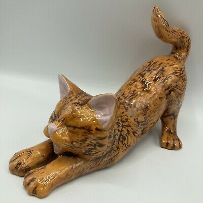 Vintage Ceramic Hand-painted Ginger Tabby Cat Stretching & Yawning 22cm Long • 19.95£