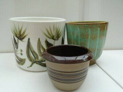 3 Poole Pottery Planter Pots Small Medium & Large • 38£