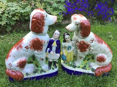 Pair Of Large Antique Staffordshire Spaniels With The Children. • 125£