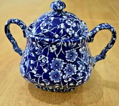 Queens Pottery Blue Chintz Twin Handle Lidded Sugar Bowl • 14£