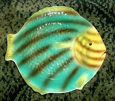 SHORTER & SON FISH PLATE - YELLOW BLUE BROWN LUSTRE- 9.25  X 8.25   - 1930s • 6.99£