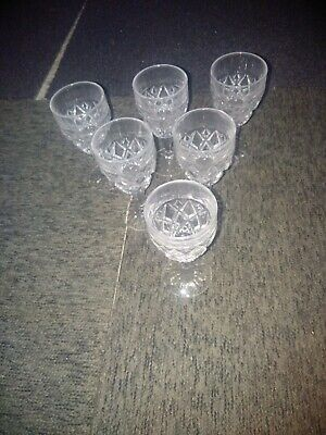 Set Of 6 Crystal Cut Glass Sherry/Liqueur Glasses, In Excellent Condition. • 4.99£