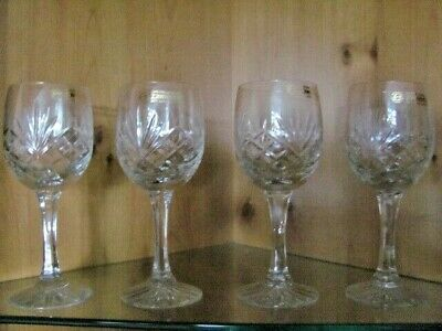Four Unused And Labelled Zawiercie Hand Cut Lead Crystal Wine Glasses • 25£