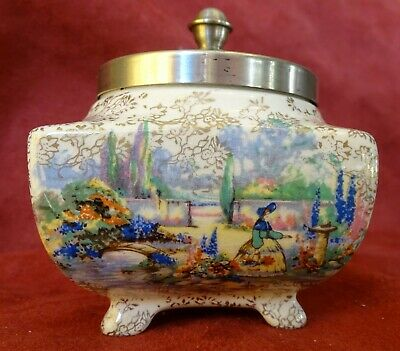 Antique Lancasters Sandland Ware Country Garden Scene EPNS Lidded Sugar Bowl  • 10.99£