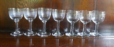 Mixed Lot Of Seven Vintage Etched Glass Wine Glasses. Three Greek Key Pattern. • 12.99£