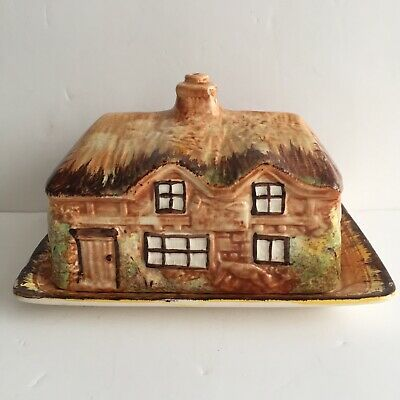 Vintage Price Bros Butter / Cheese Dish Thatched Cottage Ware • 5£