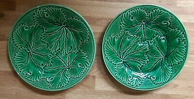 Two Vintage Majolica Style Leaf Plates. • 7.99£
