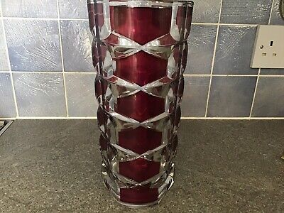"""Vintage Retro French Ruby Red / Clear Vase 9 1/2"""" Pre-owned • 5.50£"""