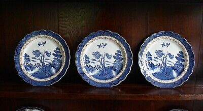 Three Vintage Booths Real Old Willow Salad/Dessert  Plates. A8025 • 12.99£