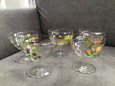 Vintage Glass Sundae Dishes, Hand Painted • 8£