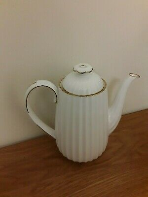 Rare Spode China Large Coffee Pot, White Embossed & Gold Design, Vintage Unused • 0.99£