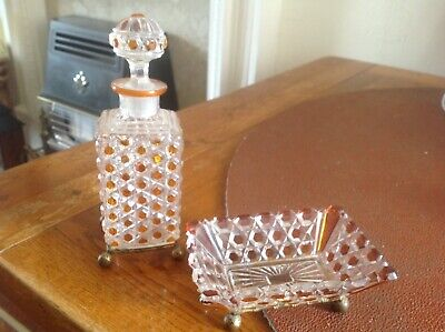 Baccarat French Crystal Bottle With Stopper And Matching Dish, Both On Feet • 148£