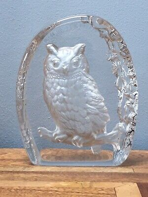 Reverse Carved Etched Glass Ornament Paperweight Owl • 19£