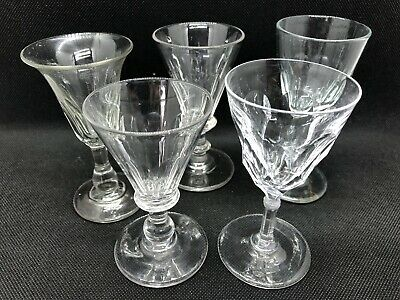 5 Antique Glasses Including Some Early 19th Century Penny Gin Glasses • 9.99£