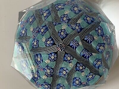 Whitefriars Millefiori Art Glass Paperweight 1978 5 Spoke White Monk Faceted Cut • 58£