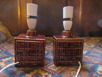 Pair Of 1960s Poole Pottery Helios Chestnut Table Lamps By Robert Jefferson • 60£