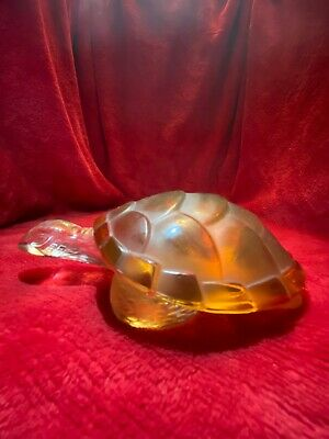 """Lalique France """"Caroline"""" Turtle Sculpture Modelled In Amber And Clear Glass • 115£"""