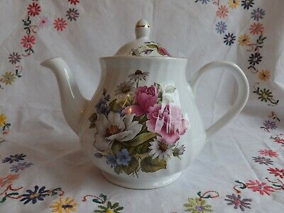 Beautiful Vintage Arthur Wood Pink Rose Floral Design Large Tea Pot 6424 • 20£