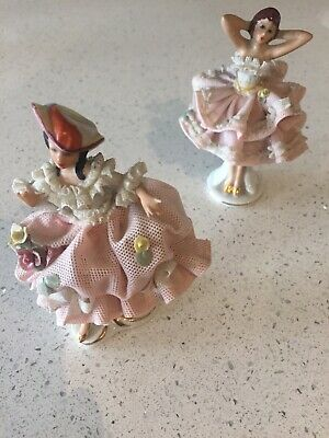 Two Dresden Lace Figurines • 5.60£