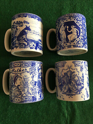 4 X Spode Blue Room Collection Mugs (different Designs) • 19.50£