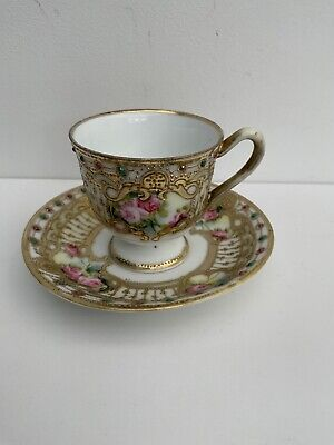Vintage Noritake Coffee Cup & Saucer, Hand Painted With Embossed Gold • 10£