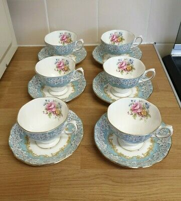Royal Albert ENCHANTMENT Date Stamped 1950  6 Tea Cups And Saucers • 26£