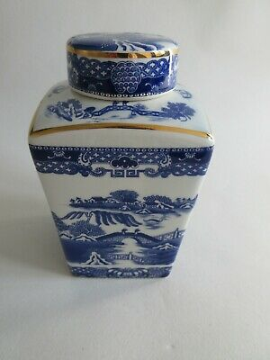 Wade/ringtons Maling Tea Caddy. Blue And White Willow Pattern • 6.50£
