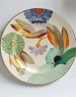 Vintage GRAYS POTTERY Art Deco Hand Painted Plate 1930s Flowers • 79£