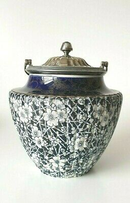 DOULTON BURSLEM Silicone China Biscuit Barrel Plated Lid 1882 - 1902 • 69.95£