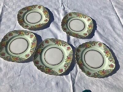 Colclough Green Floral Side Plates • 10£