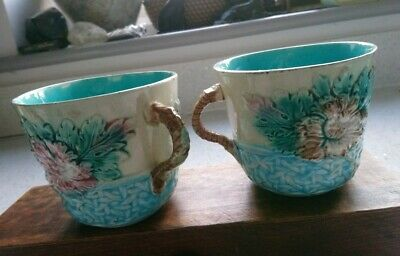 Pair Of Antique Floral & Basket Weave Majolica Cups • 38£