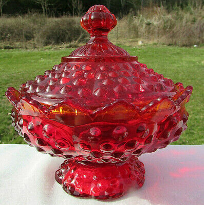 Fenton Vintage Ruby Amberina Hobnail 6 W Footed Candy Dish Scalloped Lid MINT** • 35.38£